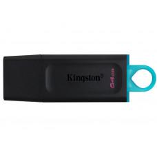 Kingston DataTraveler Exodia Memoria USB 64GB - USB 3.2 Gen 1 - Con Tapa - Enganche para Llavero - Color Negro (Pendrive)