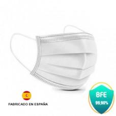 Mascarillas Quirurgicas Desechables Pack 40  Tipo IIR - BFE > 98% - Certificado CE - UNE EN 14683:2019+AC:2019 - Fabricado en España - Clip Nasal Ajustable - 3 Capas - Color Blanco 4% IVA