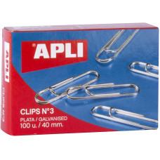 APLI Clips Nº 3 PLATA 100 UNID/ 40 mm.